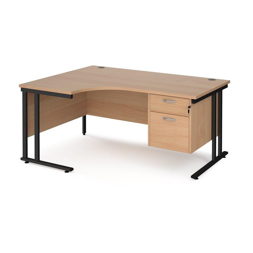 Ergonomic Desk Lhs With 2 Drawer Pedestal