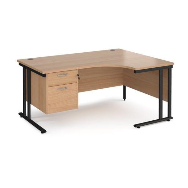 Ergonomic Desk Rhs With 2 Drawer Pedestal