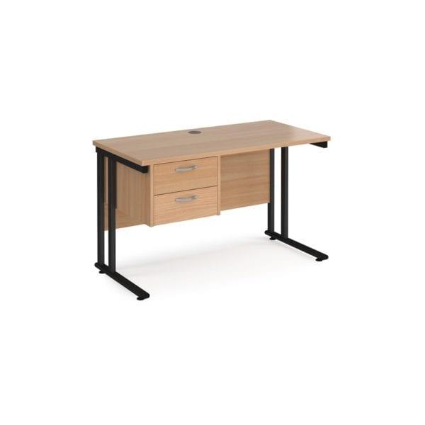 Straight Desk 600 With 2 Drawer Pedestal