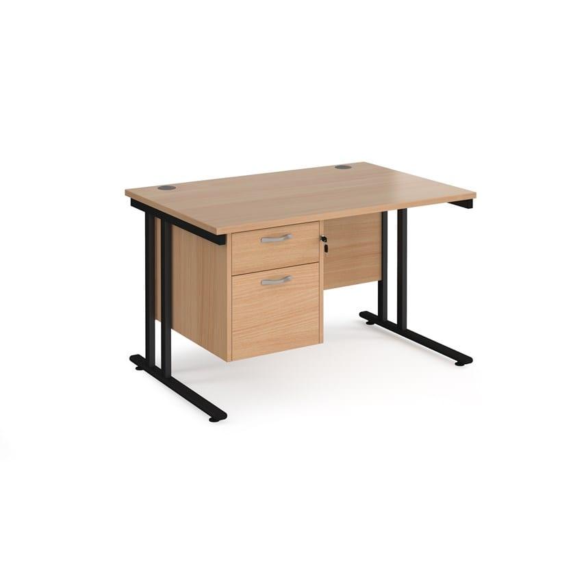 Straight Desk 800 With 2 Drawer Pedestal