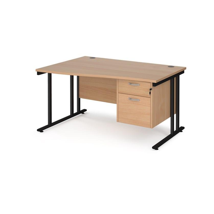Wave Desk Lhs With 2 Drawer Pedestal