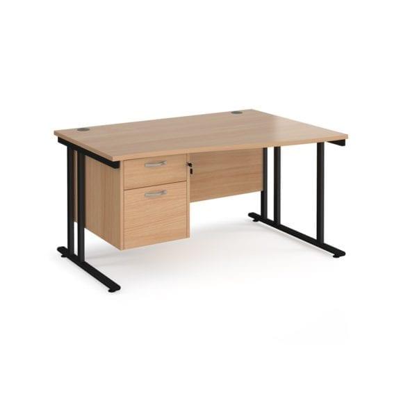 Wave Desk Rhs With 2 Drawer Pedestal