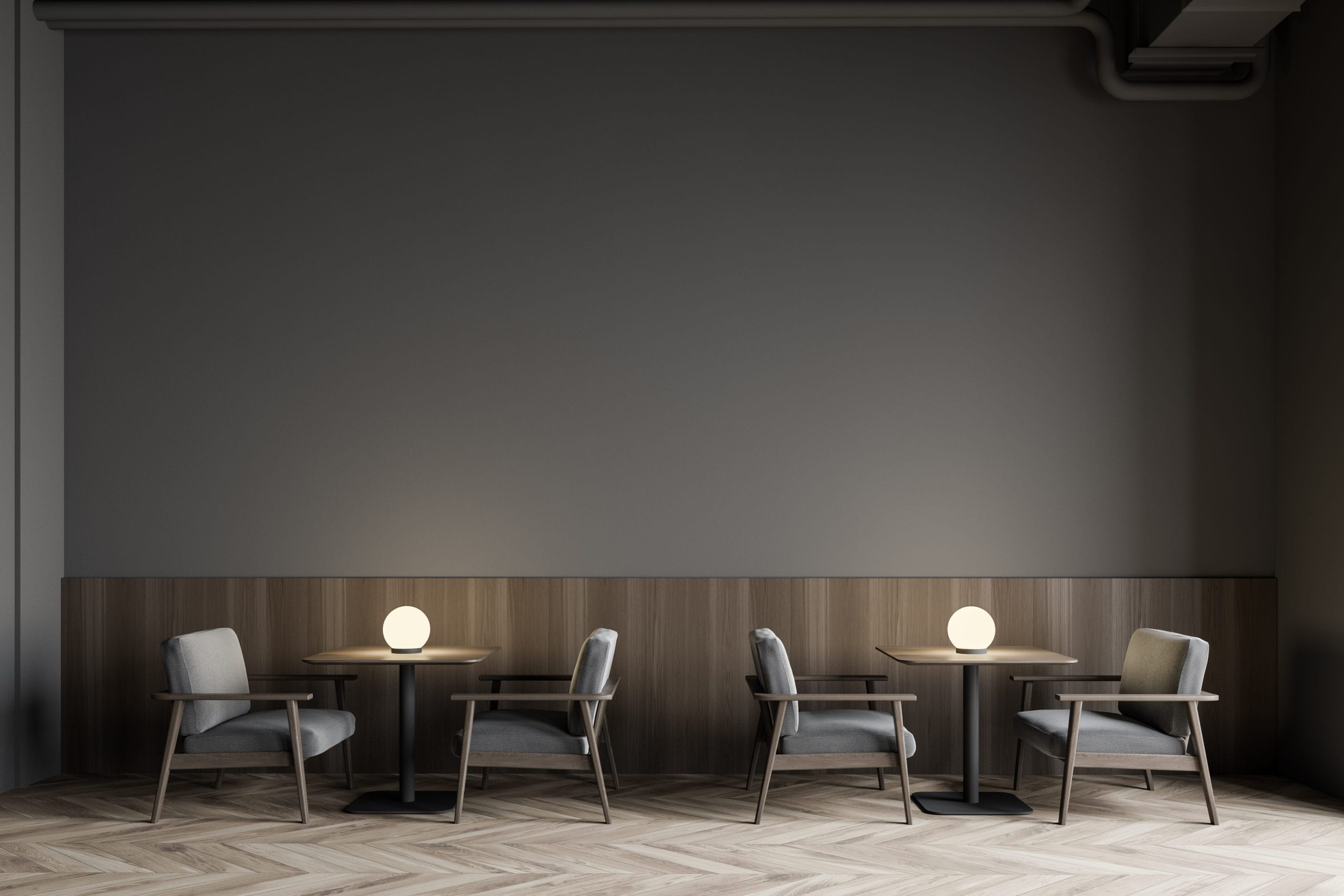Modern Gray Restaurant Interior With Armchairs