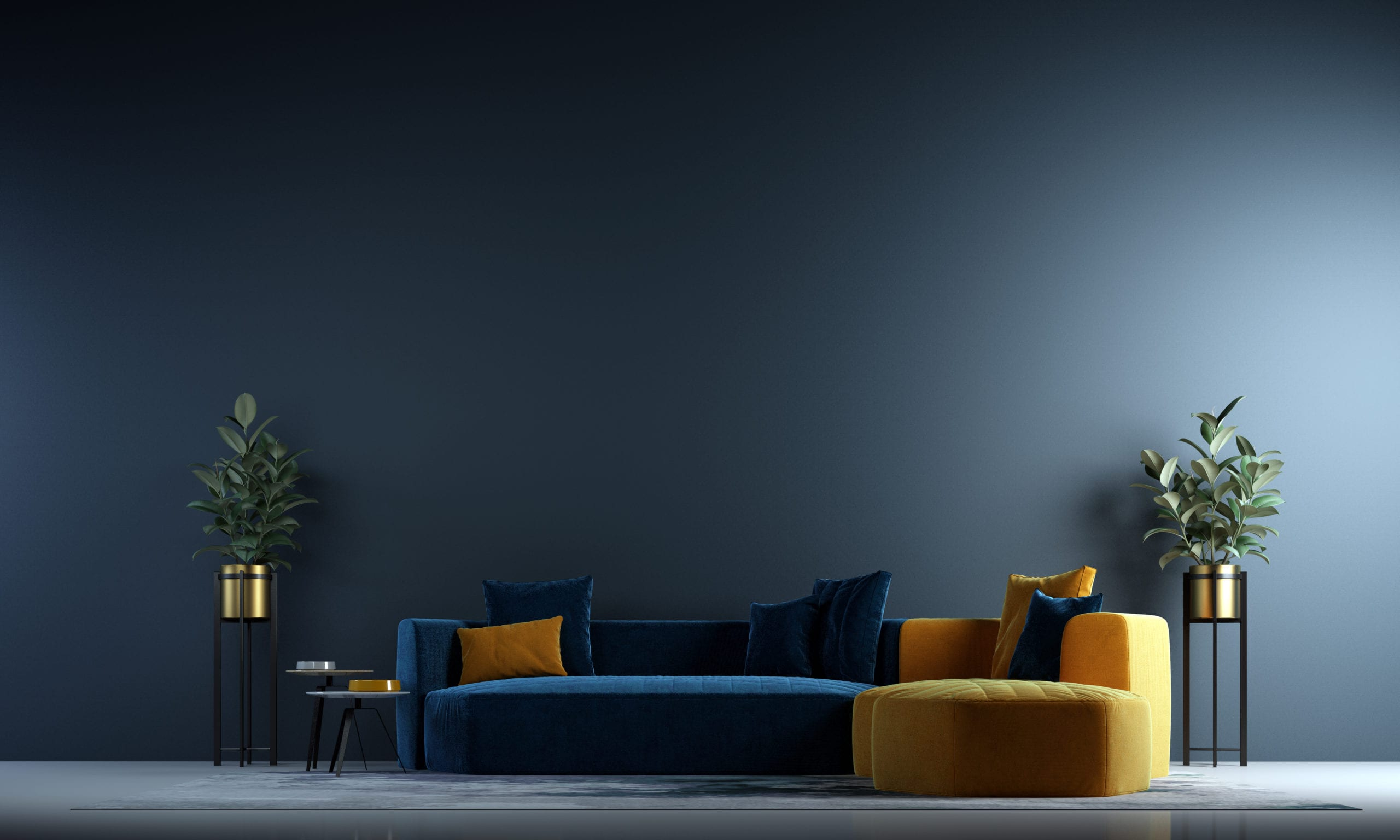 Modern Interior Of Living Room Design And Blue Wall Background